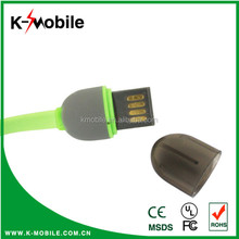 Shenzhen Manufacture of Superior Quality Colorful Flat 2 in 1 Custom Multi USB Cable Charger