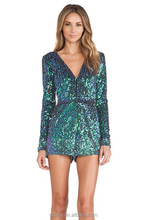 Most Popular Special Desigual 2015 Woman Clothing Fashionable Elegant Special Occasion Green Long Sleeve Sequined Bodycon Jumpsu