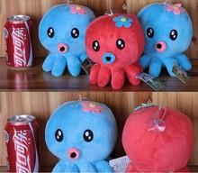 Customized plush sea animal kids toy soft mini octopus cell phone holder