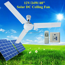 """48"""" 12V DC Ceiling Fan with Brushless DC Motor Operated by Battery, Solar Panel and AC Power"""