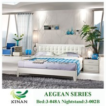Modern Leather White Bedroom Furniture,Melamine PB Bed