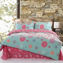 red and blue small flowers elegant design bed set cotton printed 100% cotton world bedding set