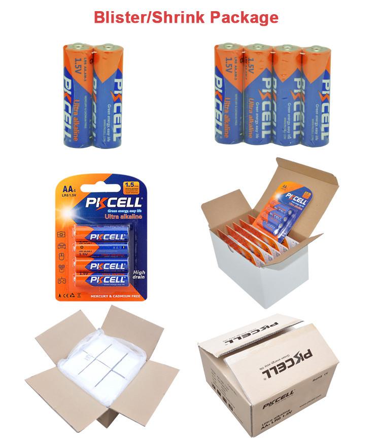 PKCELL hot sale no. 5 bateria am3 LR6 1.5 V aa bateria alcalina de célula seca