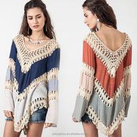 Summer Style 2015 Women Blouses Multicolor Vneck Lace Crochet Kimono Blouse Plus Size Blusa Feminina Shirt Tops Ropa Mujer