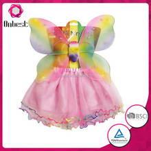 2015 Fashion rainbow wholesale fairy wings baby children halloween costume girls party wear mini skirts set