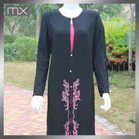 black embroidered kaftan ethnic muslim women long dress ladies maxi dress long sleeve moroccan abaya