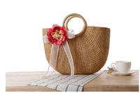 2016 yiwu onemore factory Shoulder/Tote tassel ball ladies natural handbags straw shopping bag