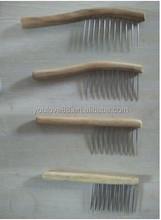 wooden long teeth comb, metal teeth comb, hair wood comb