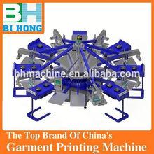Good quality 6 color 6 station manual t shirt printing press