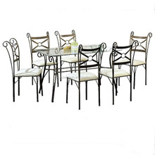 Antique Metal Frame GlassTop Dining Room Table And 6 Chair Set