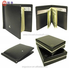 2015 Wholesale unique metal stainless steel and leather wallet money clip