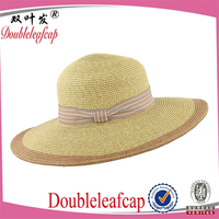 Chic Ladies Straw Sun Visor Hat Wide Wide Brim Floppy Fold Swimming Beach Straw Hat