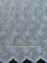 Polyester / Cotton White Floral Designs TC Embroidery Fabric