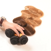 2016 Hot New Products 3 Tone Ombre Hair Weave 1b/4/27 Body Wave Indian 100 Human Hair Weave