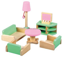 wooden toy Mini Furniture - Living Room, Role palying doll house toy,EN71 Best of China