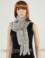 CX-S-14B Thick Winter Fashion OEM Design Rabbit Fur Knitted Scarf