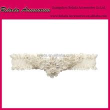 Elegant ivory white pearl and rhinestone lace Garter sets wedding garter