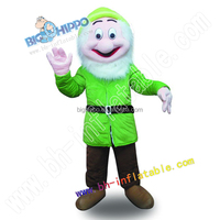 Green little man character mascot costume