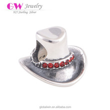 2015 Fashion Cowboy Hat Charms Beads 925 Sterling Silver Jewelry Fit European Brand Bracelets Christmas Gifts