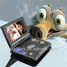 rotatable 7' portable dvd player with USB,Card reader