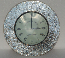 Round Wall Clock, Cheap Tempered Mosaic Glass Wall Clock Special Dial Design