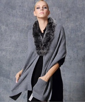 Ladies Real Cashmere Pashmina Shawl Fox Fur Collar Winter Scarve with Tassels