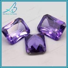 Shining bright octagon purplish red loose cz stone for sale