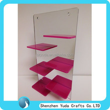 Newest lucite nail polish display wall mount style, slatwall nail polish display rack