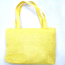 Plain Yellow Color Women Shopping Jute Tote Bag