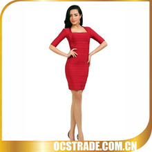 2014 new short sleeve red bandage dress sexy halter wedding dress