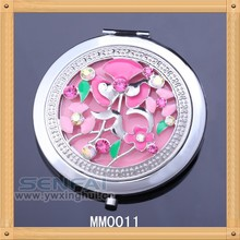 Unique fashion round convex floral silver plated compact makeup mirror dIscount price available