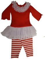 Wholesale Holiday Infant Toddler Girls Xmas Clothing Sets Comfortable Cotton Damask Print Cheap Baby Christmas sets