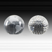 Hot sale Novelty Crystal Glass Globe Ball Paperweight/ Crystal Golf Ball Ppaperweight as souvenir gift or office desktop favor