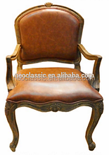 Gold Painted French handmade Carved Arms Dining Chair, leather with sponge cushion