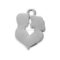 Personalized Zinc Alloy Blank Silver Love Heart Shape Engravable Boy And Girl Silhouette Charm