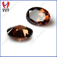 Faceted oval shape coffee artificial zircons for setting