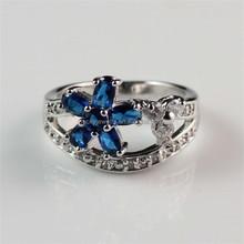 Zhejiang Brass Jewelry Manufacturer Cheap Custom Beautiful Girl's Rhodium Plated Blue Zircon Ring