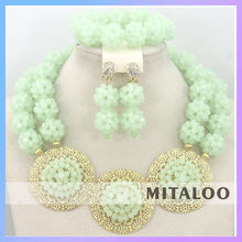 Mitaloo Graceful African Costume Jewellery Sets Pink African Beaded Necklace Sets MT0002