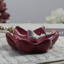Birds Stand On Mini Porcelain Flowers Ceramic Lotus Flower