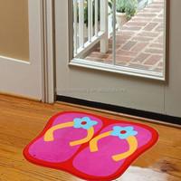 cartoon print coral velvet anti-slip rugs children bedroom's mat