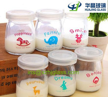 High quality 180ml glass milk bottles with plastic cap wholesale