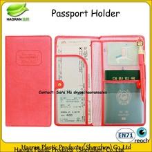 Fashion pink pu ticket passport holder with pen