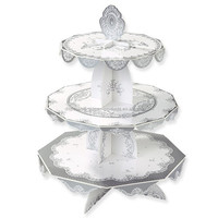 Party Silver Party 3 Tier Card Cake Stand