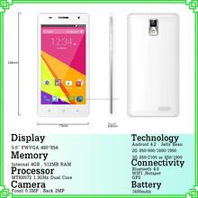 5 pulgadas FWVGA pantalla capacitiva de 1.3GHz Quad Core teléfonos 512MB RAM 4GB ROM P7 con marca diferente con vista