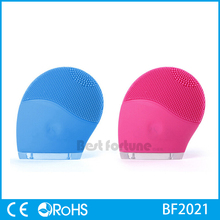 Rechargeable waterproof silicone facial cleansing brush massager
