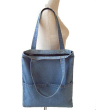canvas shopping bag oem production washed jeans denim tote bag