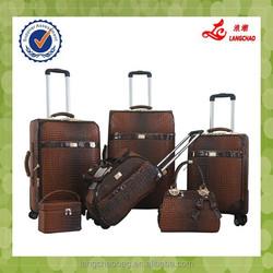New Design 5 Pcs PU Crocodile Grain Aluminum Real Push Trolley High Quality Luggage Set