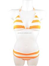 white orange strap print promotion gift 2015hot girl sexy nude bikini swimwear