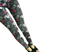 1 PC Fashion and Lovely Colored Skulls Graffiti Printed Pants Nine Points Milk Silk Women's Leggings
