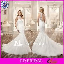 MG179 Alibaba Appliqued Sleeveless With Key Hole Back Floor Length Wedding Dress Mermaid High Neck